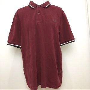 FRED PERRY Pique Cotton Twin Tip Burgundy Polo